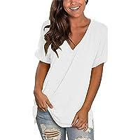 UMIPUBO Scollo a V T-Shirt Donna da Estate, S-XXL Oversize Maglietta Tinta Unita, Casual Cotone Bluse Moda Polsini…