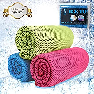 BESROY Cooling Towel 3 Pcs for Sports,All In One Ice Cold Sweat Towel, Gym Microfiber Towel For Instant Cooling Relief, Golf Travel Camping as Cooling Neck, Headband 1