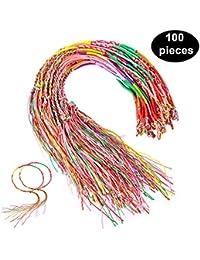Hifot Pulseras Trenzadas Hechas a Mano 100pcs, Pulseras Coloridas de la Amistad Kits del Hilo, Pulseras del Tobillo de la muñeca para los favores de la Fuente del Partido Colores al Azar