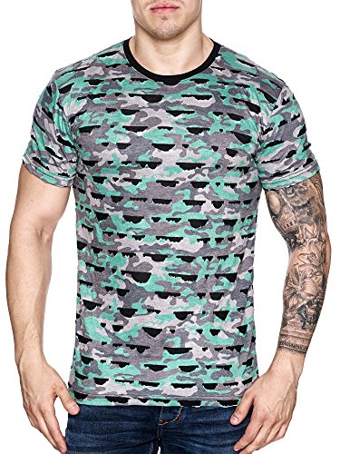 Herren Camouflage Polo Vintage Used T-Shirt Destroyed Look Zerrissen Ripped Grün