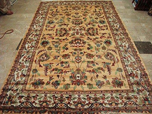 Rechteck Bereich Teppich Creme LOVE Floral Hand geknotet seide Wolle Teppich (10x 6) '