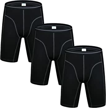 Nuofengkudu Men's Sports Long Leg Cotton Boxers Shorts(2 or 3 Pack)