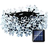 QederTEK 6.5m Cadena de Luz 50 LED con Energía Solar de Diseño de Flor para Árbol de Navidad, Patio, Jardín, Terraza y Todas las Decoraciones Exteriores (Blanco)