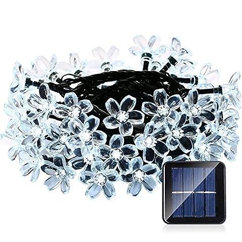 lederTEK, Solar Lichterkette 6,4m 50 LED Pfirsichblüte Außenlichterkette Wasserdicht mit Lichtsensor Weihnachtsbeleuchtung, Beleuchtung für Haushalt, Außen, Garten, Hochzeit, Weihnachten