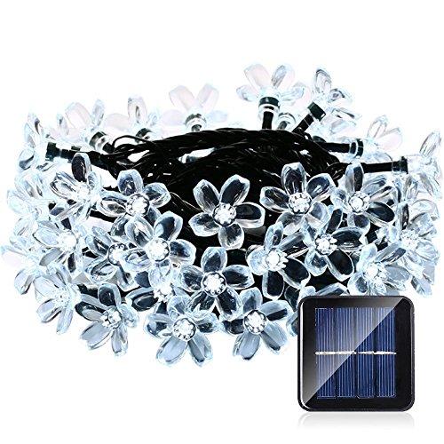 lederTEK, Solar Lichterkette 6,4m 50 LED Pfirsichblüte Außenlichterkette Wasserdicht mit Lichtsensor Weihnachtsbeleuchtung, Beleuchtung für Haushalt, Außen, Garten, Hochzeit, Weihnachten (weiß)