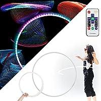 Echo Glow - Light Up Plegable Profesional Hula Hoop con 84 LED, Totalmente Recargable + Control Remoto! ¡Más de 300 Patrones de luz!