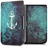 kwmobile Hülle für Pocketbook Touch Lux 3/Touch Lux 2/Basic Lux/Basic 3/Basic Touch 2 - Flipcover Case eReader Schutzhülle - Bookstyle Klapphülle Anker Landkarte Design Weiß Blau