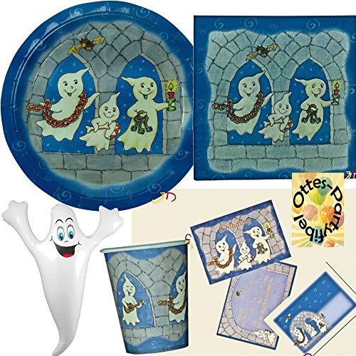 HHO Geister-Party-Set Gespenster Ghost-Party-Set für 6 Gäste 40tlg. 6 Teller 6 Becher 20 Servietten 1 aufblasbarer Geist 6 Einladungen 1 Tischdecke