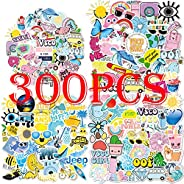 300PCS VSCO Stickers for Water Bottle Hydro Flask, Waterproof Aesthetic Vinyl Decal Stickers for Teens Girls P