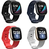 FAKIDOM 4-Pack Sense Bands Compatible for Fitbit Versa 3 & Fitbit Sense for Women Men, Soft TPU Sports Strap Replacement Wris