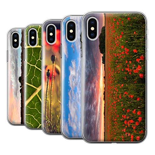 Stuff4 Gel TPU Hülle / Case für Apple iPhone X/10 / Rote Blume Muster / Britisch Landschaft Kollektion Pack 8pcs