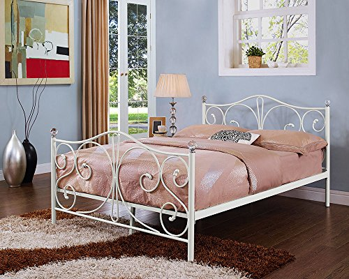 Single, 4ft6 Double & 5ft King Black/White Metal Bed Frame With Crystal Finials (4ft6 Double, White)