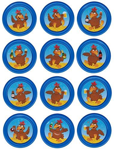 Ersatzchips mit Aufkleber für Looping Louie & Looping Chewie Chips Hasbro Drunken Louie Bierhuhn (Drunken Louie Braun, Blau) -
