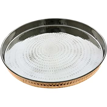 RoyaltyLane Copper Stainless Steel Large Dinner Plate Thali Dinnerware for Indian Food, Diameter 12 Inches.