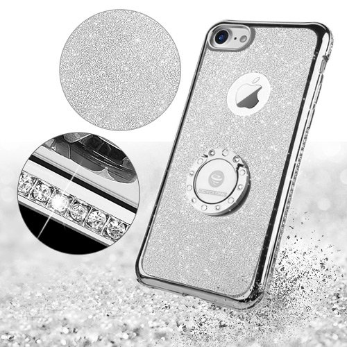 Cover iPhone 6 Plus/6S Plus Glitter Silicone per Ragazze,Kickstand Bling Diamante Brillante Cristallo Lucciante Luminosa Custodia Gel Case per iPhone 6 Plus/6S Plus, 5.5 inch (Trasparente) iPhone 7 Argenta