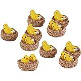 Generic Resin Doll House Bonsai Fairy Garden Bird Landscape Decor (Yellow and Coffee) - Set of 10