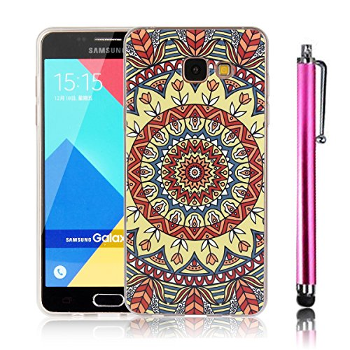 Samsung Galaxy A510 Cover , Samsung Galaxy A5 2016 Custodia, Bonice TPU trasparente Ultra Slim Thin 3D Case + Stilo Penna - Mandala 05