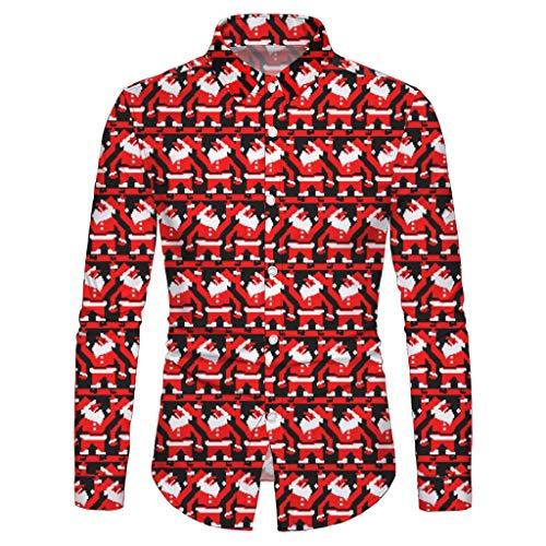 Xmiral Shirt Herren Tasten Langarm Stehkragen Gedruckte Tops Persönlichkeit Lustig Große Größe Anzughemd Beiläufig Sweatshirts (Rot 1,S)