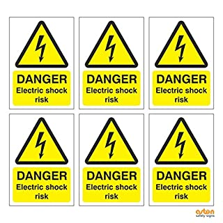 6 x Danger Electric shock risk signs. 95mm x 135mm Pack of 6. (Self Adhesive Sticker)