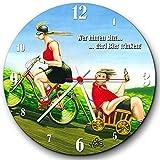 Veit's originelle, lustige Cartoon Wanduhr Fahrrad - Wer hinten sitzt, darf Bier Trinken!