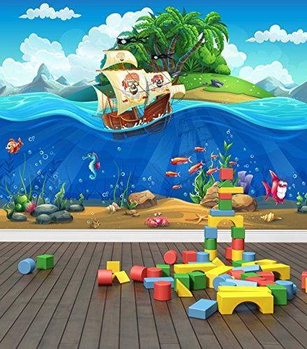 Piratenschiff Unterwasserwelt Wand Wandbild Foto Tapete Kinder Schlafzimmer, XX Large 3000mm x 2400mm