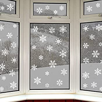 Christmas window snowflake stickers with glitter amazon for Decor star 005 ss