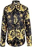 Pizoff Herren Luxus Palace Still Fashion Hemden mit Pflanze Blumen Medusa Y1706-9-L