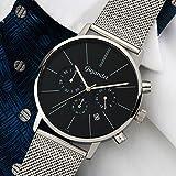 Gigandet Herren-Armbanduhr Minimalism Quarz Chronograph Uhr Datum Analog Edelstahlarmband Schwarz Silber G32-006 - 2