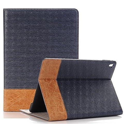 9.7 zoll iPad 2017 Ledertasche, TechCode Bookstyle PU Leder Dünne Standplatz Hülle Abdeckung für Apple Neues iPad 9.7'' 2017 mit Auto Wach Schlaf Funktion (2017 New IPAD, Dunkelblau)
