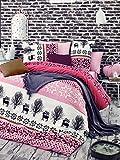 LaModaHome 2Pcs Schlafzimmer Soft Farbigen 100% Baumwolle Ranforce Single Quilt Bettbezug Set Weiß und Rosa Hirsch Tree Tulip Blume Daisy Nature Single Bett Ohne Tröster