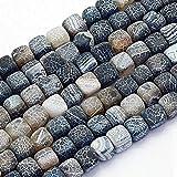 Piedras Preciosas Perlas 8 mm Negro Gefrostet Ágata Piedra 12 Unidades...