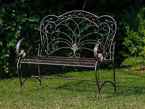 Nostalgische Gartenbank Vogel Eisen Metall Bank Nostalgie antik Stil Vögel - 2