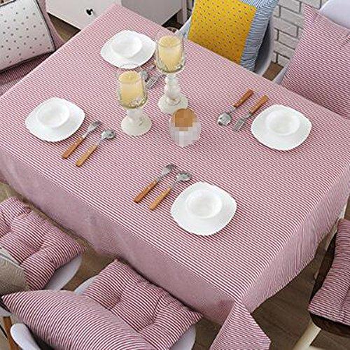 PASAJ Baumwolle Leinen Gestreifte Teetisch Rechteckige Tischdecke Rosa Tischtuch Kaffee Tischdecke,Pink-140*200cm(55.1*78.7Inch)