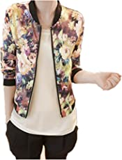 Mose 1Pc Floral Printed Stand Collar Long Sleeve Zipper Bomber Jacket
