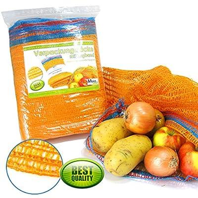 Verpackungssäcke 5kg 32 x 47cm Raschelsäcke Kartoffelsäcke mit Zugband & Borte (20er-Set)