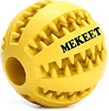 MEKEET Dog Ball Chew Toy Tooth Cleaning Play Rubber Ball Treat Toy Nontoxic Bite Resistant Pet Exercise Game Toy Puppy Ball for Small Medium Large dog (Yellow)