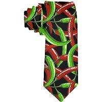 Mens Novità Divertente Poliestere Tessuto Rosso Verde Peperoncini Modello Cravatta nera Festa di lavoro Data Matrimonio…
