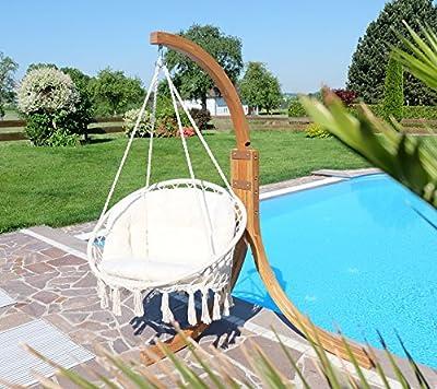 DESIGN Hängesessel Catalina mit Gestell aus Holz NAVASSA Lärche komplett AS-S von AS-S - Gartenmöbel von Du und Dein Garten
