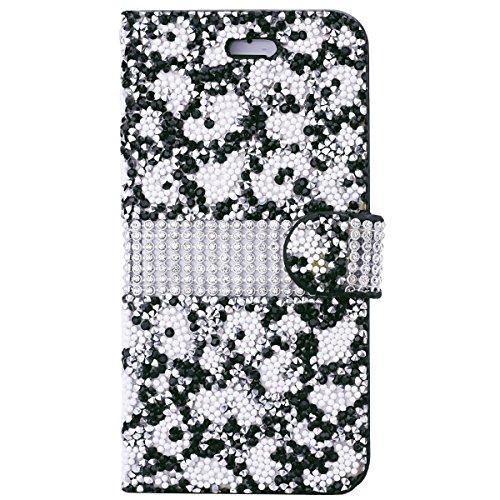 iPhone 6 Plus / iPhone 6S Plus Hülle, Yokata Flip Luxury PU Leder Luxus Lederhülle Case Bling Glizter Design Diamant Backcover Cover Bookstyle mit Standfunktion und Magnetverschluß Tasche Schutzhülle  Schwarz