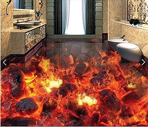 LWCX Benutzerdefinierte Fußboden Pvc Wasserdicht 3D Wallpaper Feuer Feuer Wandbild 3D-Foto 250X175CM