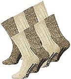 4 Paar Norweger Strick-Socken mit Antirutsch Sohle, Woll Socken