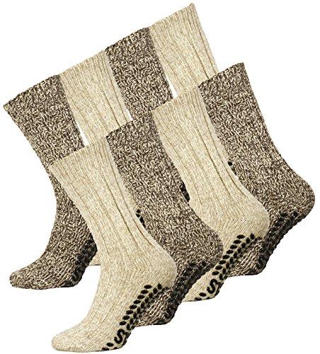 4 Paar Norweger Strick-Socken mit Antirutsch Sohle, Woll Socken (4-laminat)
