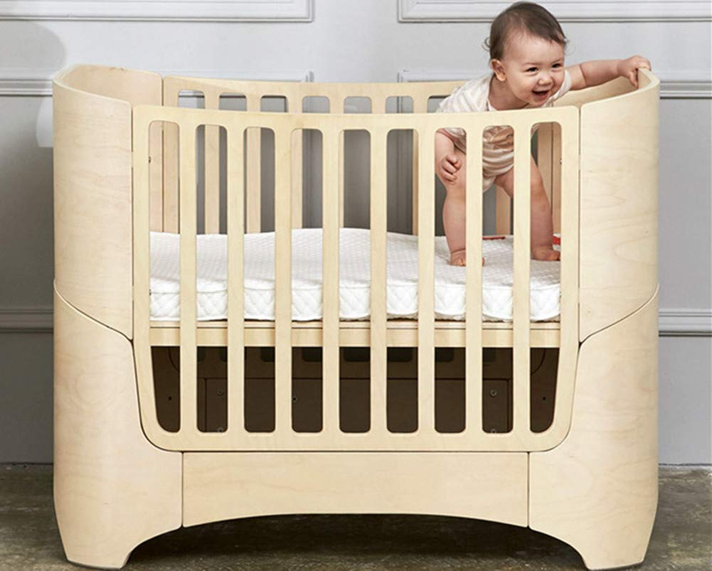 KLI Multi-Function Newborn Infant Crib Solid Harmless Harmless Paint Wood Baby Cradle Rocking Bed,120 * 68 * 94Cm,Brown KLI 1.Shipping list: crib,mat 2.Size:120*68*94cm 3. 2 grade height adjustment: grade 1 (55cm from the floor)can be used for baby in 0-6 month, convenient to take out baby; grade 2 (22cm from the floor) for baby in up to 4 years old and can stand independently 5