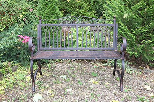 Gartenbank Bank Antik-Stil Garten Metall Eisen braun Gartenmöbel Parkbank 119cm - 2
