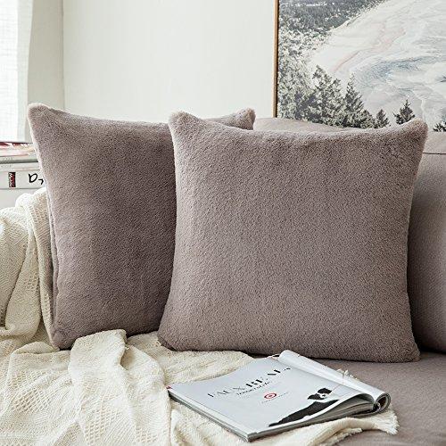 MIULEE 2er Set Sehr weiche Luxus Warn Serie Faux Kaninchenfell Dekokissen Fall Kissenbezug für Sofa Schlafzimmer Auto 18x18 Zoll 45x45 cm