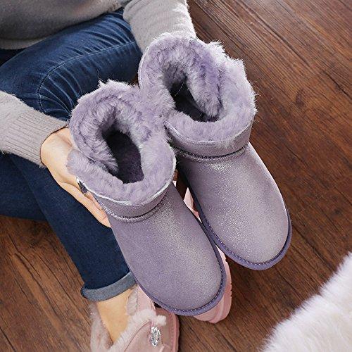 Heart&M Stivali da neve inverno 2016 nuovo tubo corto pulsante tessuto pelle lana donna b
