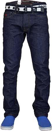 Crosshatch Mens Regular Straight Leg Cotton Designer Denim Jeans with Free Belt