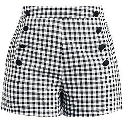 Voodoo Vixen Mila Gingham pantalones cortos negro-blanco