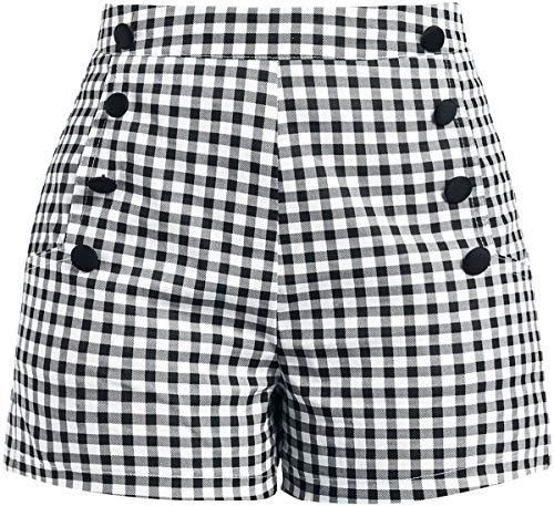 Voodoo Vixen Mila Gingham Shorts Shorts Nero/Bianco