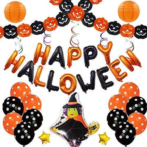 nting Banner Happy Halloween Girlande Dekorationen Flagge Banner Fledermaus Ballons Halloween Party Dekoration Requisiten Indoor Outdoor 37 St¨¹cke (Hexe) ()